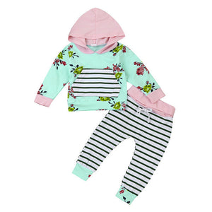 2017 Newborn Baby Infant Girls Clothes Tops T-Shirts Long Sleeve Outfits Flower Pants Autumn Casual Hooded Baby Girl Clothing