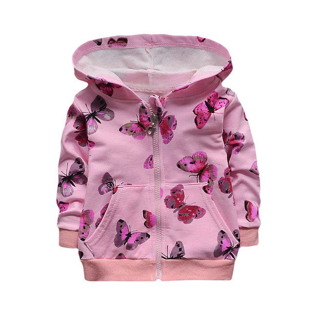 Butterfly Jacket New Arrival Clothing For Baby Girls Coat Cartoon Printed Flight jacket Autumn Kids Outerwear Children Clothes