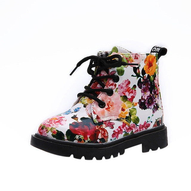 Cute Girls Boots 2017 New Fashion Elegant Floral Flower Print Kids Shoes Baby Martin Boots Casual Leather Children Boots