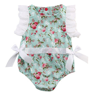 So Sweet is what this Cotton summer romper with lace is all about! Floral pattern, sleeveless, with covered button closure.