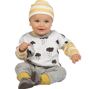 Newborn Infant Baby Boys Girls Clouds Print Outfits Clothes Tops+Pants Set Suit Long Sleeve Strip Shirts Pants Clothing Sets