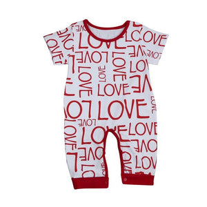 Cute Baby Boys Girls Clothes Newborn Infant Toddler Kids Bodysuit Short Sleeve Cotton Love Print Bodysuits Playsuit One Pieces