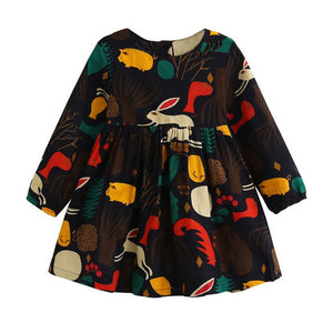 Girls Dress 2017 New Autumn England Style Girls Clothes Long Sleeve Cartoon Forest Animals Graffiti for Kids Dresses