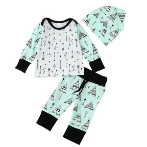2017 New Arrival Newborn Baby Boys Girls Arrow Printed Tops Pants Cap 3Pcs Set Suit Clothes newborn baby girl clothes Menino