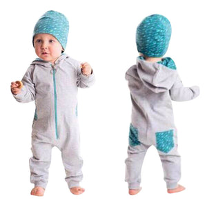 2017 New 2 Color Toddler Baby Boy Clothes Splice Zipper Hooded Romper Jumpsuit Playsuit 2PC Outfits Clothing Conjunto Menino