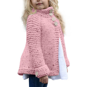Toddler Kids Baby Girls Outfit Clothes Button Knitted Sweater Cardigan Coat Tops