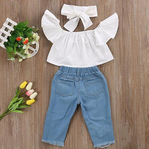 Baby Off shoulder Crop Tops + Hole Denim Pant Jean Headband Toddler Kids Clothes