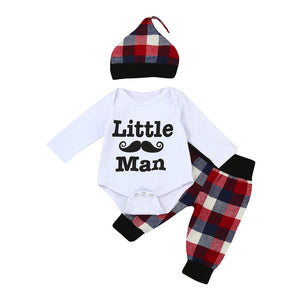 "your ""little man"" will be in style In this 3 pc Onsie, pants, and hat set"
