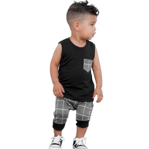 Infant Toddler Baby Boys Girl Plaid Tops T Shirt Vest Shorts Outfits Clothes Set