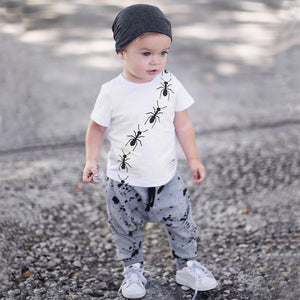 Toddler Baby Boy Short Sleeve Ant Print Tops T-Shirt +Dot Pants Outfits Set