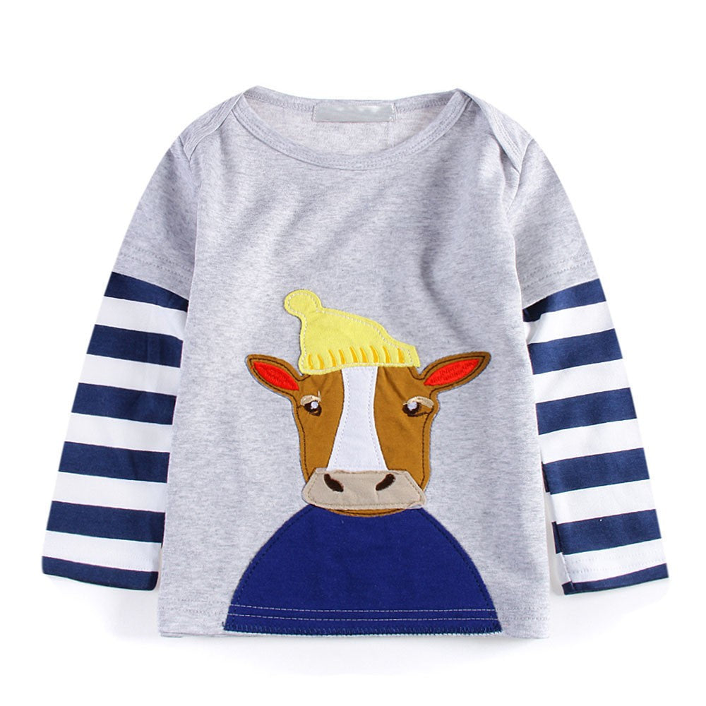 Baby Girls Boys Long Sleeve Cartoon Striped Soft Toddler Kids Tops Shirt Clothes