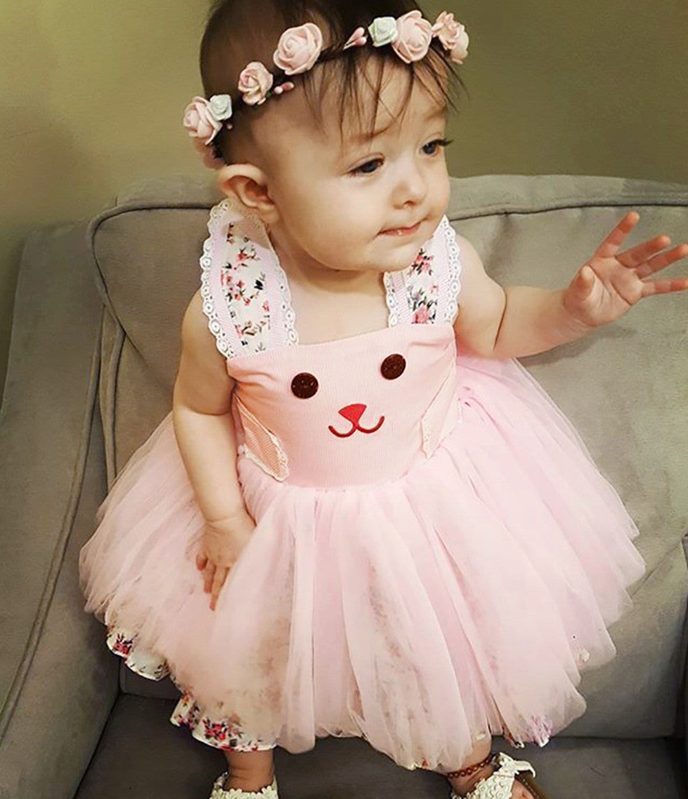 Baby Girls Kids Cartoon Rabbit Dress Clothes Toddler Princess Dresses