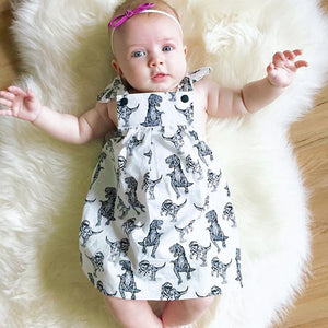 Baby Girls Infant Toddle Dinosaur Bow Cartoon Sleeveless Clothes Princess Dress
