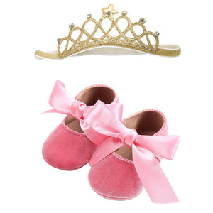 Baby Girl  Bowknot Shoes+1PC Hairband Toddler First Walkers Kid Shoes