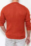 Open knit sweater burnt sienna