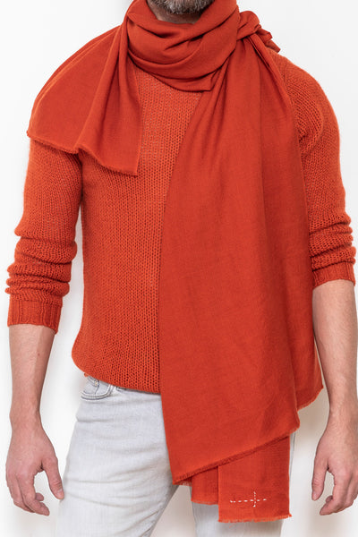 Woven scarf square burnt sienna