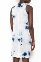 Shift dress indigo ice-dye