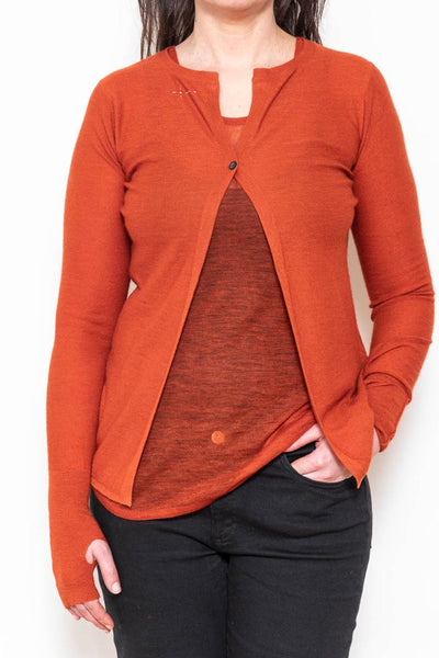 Reversible thumb cardigan burnt sienna