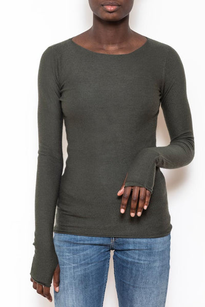 Classic boatneck sweater trekking green