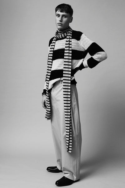 Long striped scarf black/fog