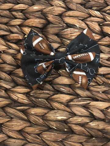 5 inch Football Fabric Bow