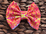 Neon Pink/Yellow Tie Dye Big Fabric Bow