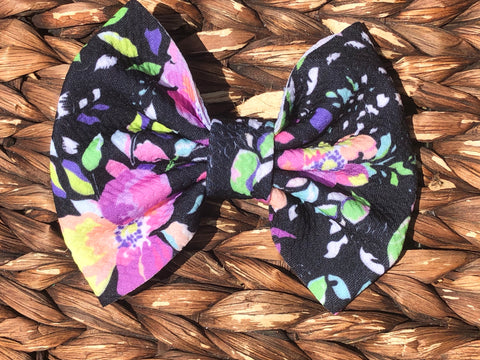 Neon Watercolor Floral Big Fabric Bow