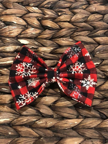 Buffalo Plaid Snowflake Fabric Bow
