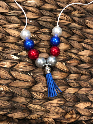 Red, White, Blue, Silver Chunky Bubblegum Necklace