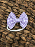 Purple Gingham Fabric Bow
