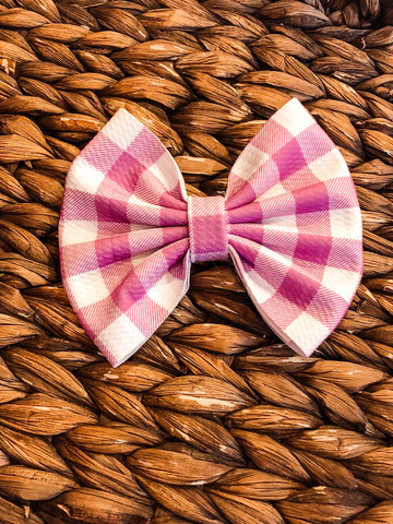 Light Purple Plaid Big Fabric Bow