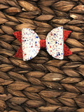 Red, White, Blue Elizabeth Faux Leather/Glitter Bow