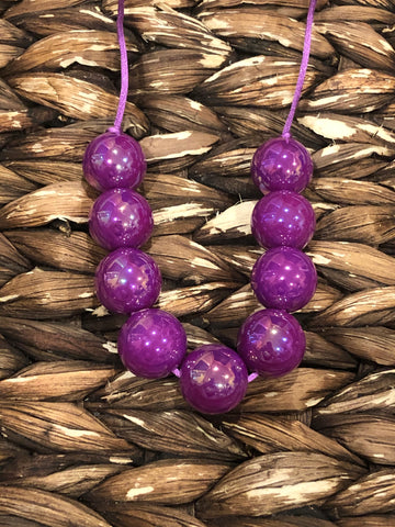 Neon Dark Purple Glossy Chunky Bubblegum Necklace