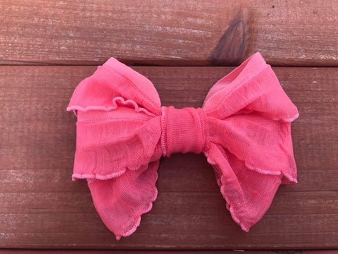 Coral Mini Messy Bow
