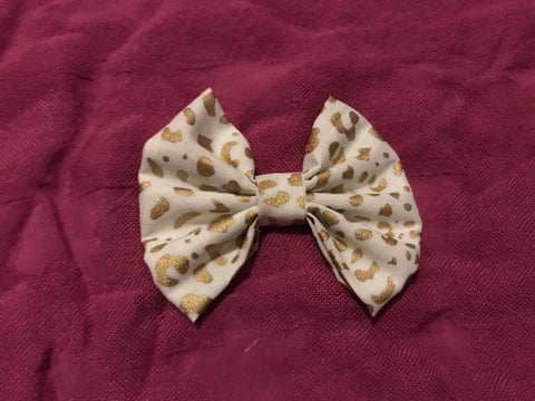 White Leopard Fabric Bow