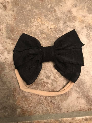 Black Mini Messy Bow