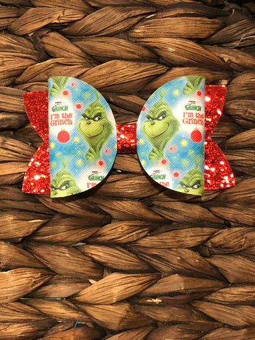 Grinch Inspired Faux/Glitter Elizabeth Bow