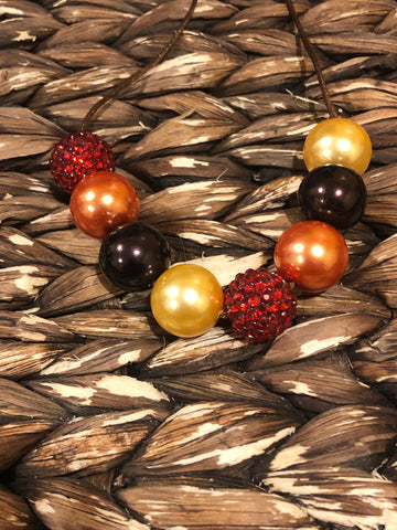 Red/Orange/Yellow Gold/Brown Chunky Bubblegum Necklace