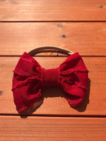 Ruby Red Mini Messy Bow