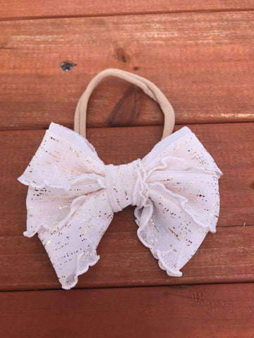 Cream/Gold Flakes Mini Messy Bow