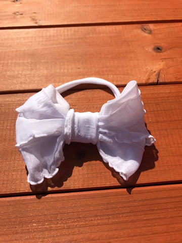 White Mini Messy Bow