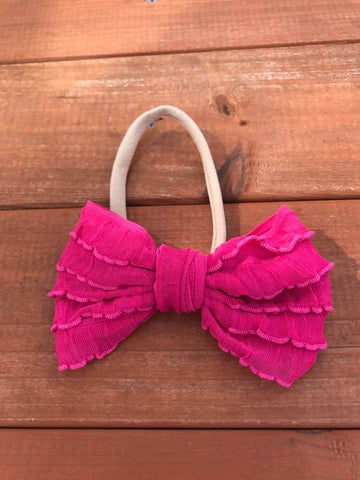 Hot Pink Mini Messy Bow