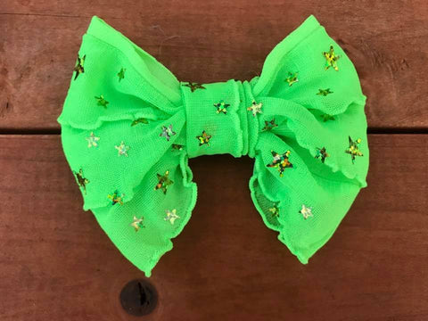 Lime Green Stars Mini Messy Bow