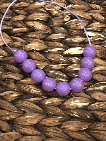 Neon Light Purple Glossy Chunky Bubblegum Necklace