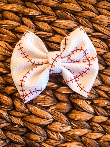 Baseball Stitches Big Fabric Bow
