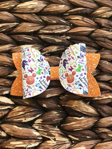 Mickey Inspired Spooky Halloween Glitter Bow