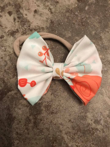 White Floral Fabric Bow