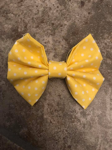 Yellow with white dots Fabric Bow