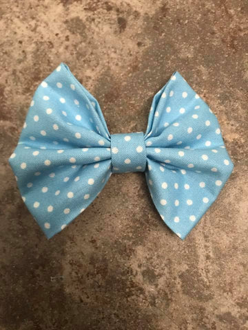 Blue with white dots Fabric Bow