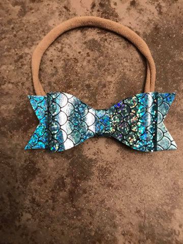 Mermaid Scales Blue Glitter Bow